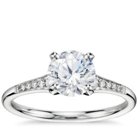 1 Carat Preset Graduated Milgrain Diamond Engagement Ring in 14k White Gold
