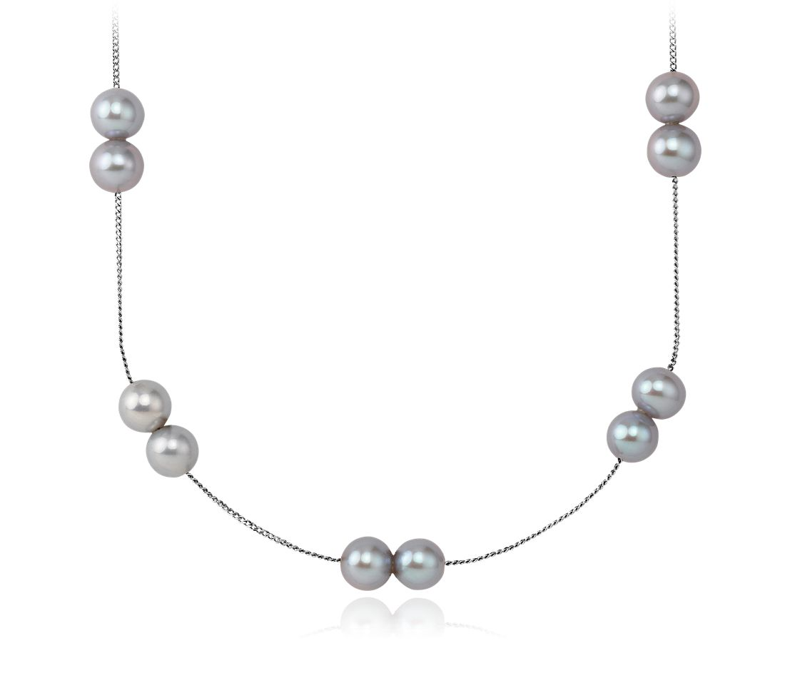 Gray Freshwater Cultured Pearl Necklace with Sterling Silver - 36'' Long