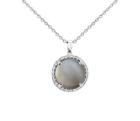 Grey Moonstone Round Pendant in Sterling Silver (13mm)