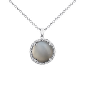 Gray Moonstone Round Pendant in Sterling Silver (13mm)