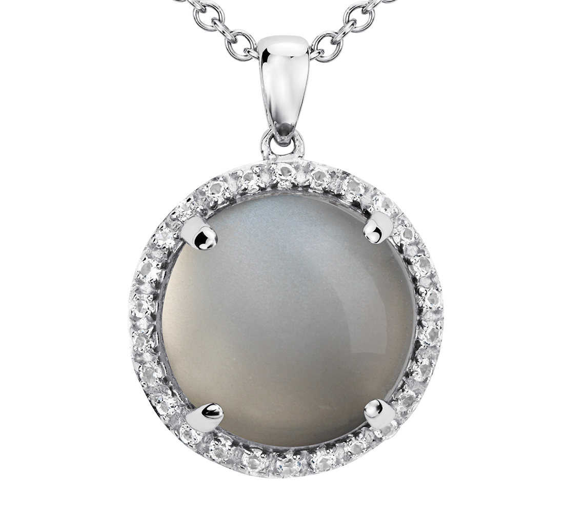 Pendentif pierre de lune grise ronde en argent sterling (13mm)
