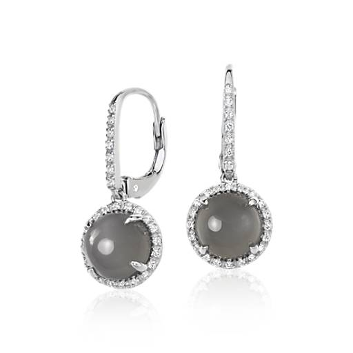 Gray Moonstone And White Topaz Round Drop Earrings In