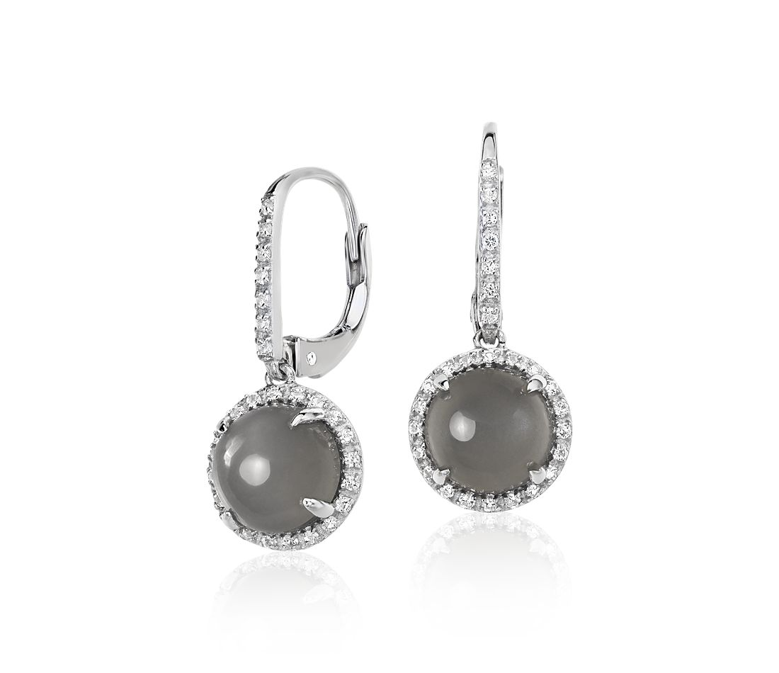 Gray Moonstone and White Topaz Round Drop Earrings in Sterling Silver (8mm)