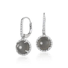 Grey Moonstone and White Topaz Round Drop Earrings in Sterling Silver (8mm)