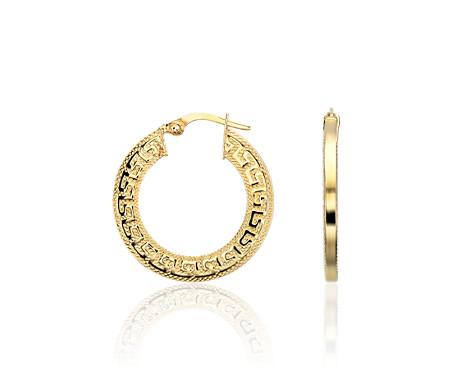 Greek Key Hoop Earrings In 14k Yellow Gold 15 16