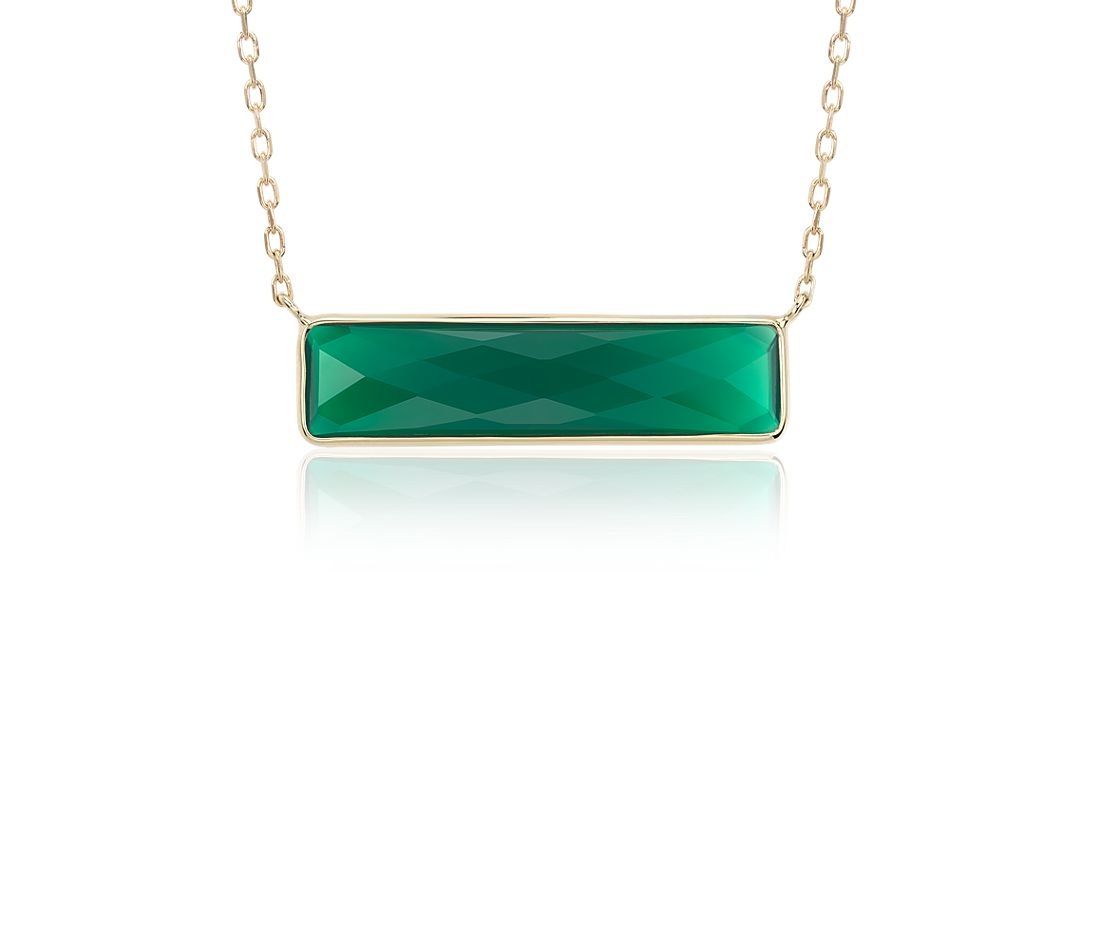Green Agate Bar Necklace in 14k Yellow Gold