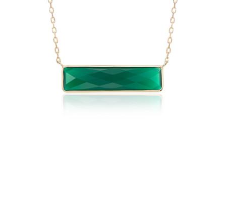 14k 金绿缟玛瑙条形项链