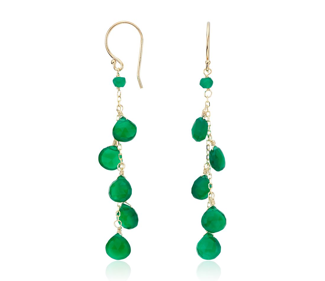 Green Agate Dangle Earrings in 14k Yellow Gold
