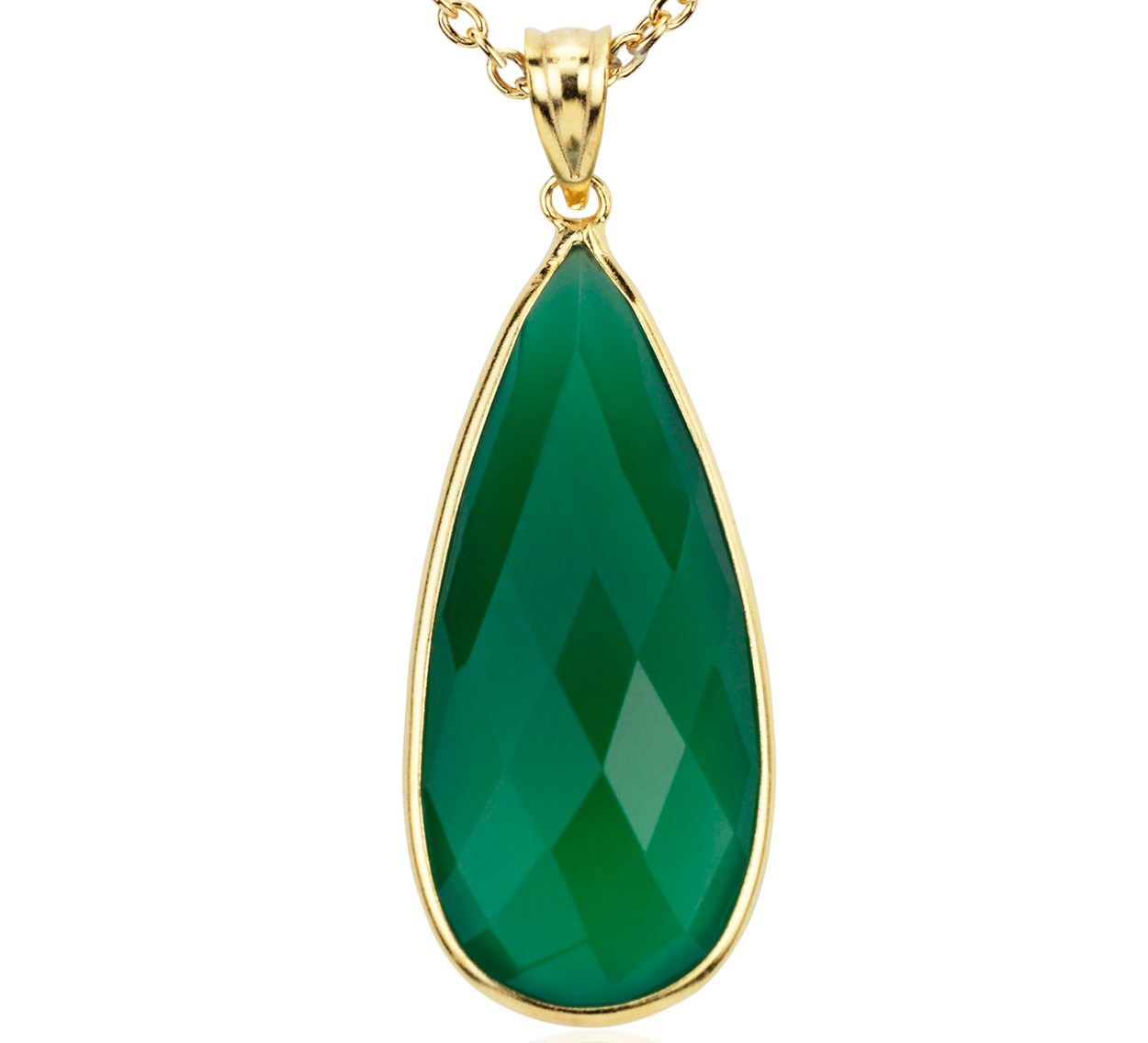 Green Onyx Pendant in Gold Vermeil