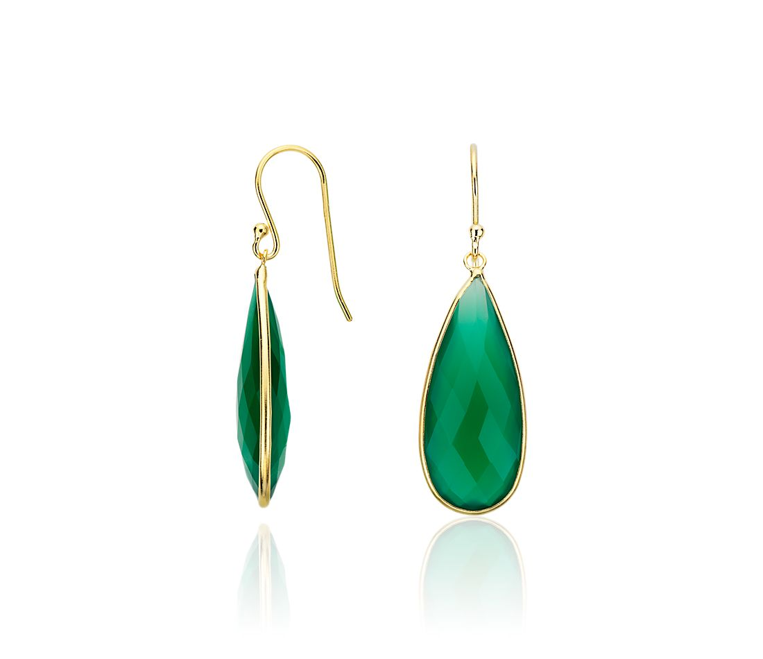 Green Agate Teardrop Earrings in Gold Vermeil