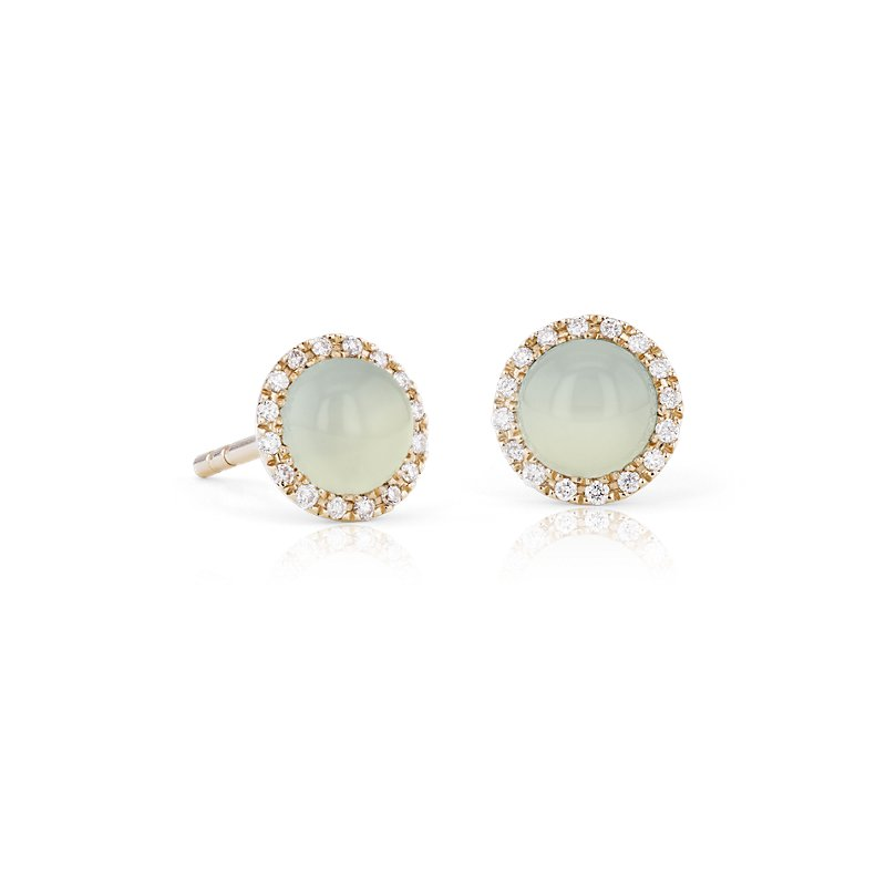 Petite Green Chalcedony Cabochon Earrings with Diamond Halo in 14
