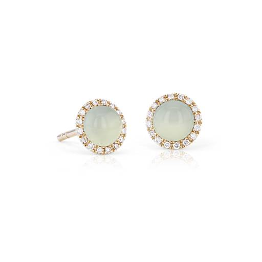 Blue Nile Petite Green Chalcedony Cabochon Earrings with Diamond Halo in 14k Yellow Gold (5mm) rXJDb0QgJu