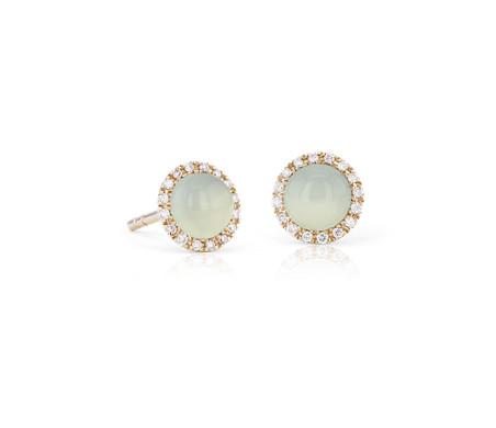 Petite Green Chalcedony Cabochon Earrings with Diamond Halo in 14k Yellow Gold (5mm)