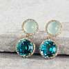 first alternate view of Green Chalcedony and Swiss Blue Topaz Drop Earrings with Diamond Halo in 14k Yellow Gold (10mm)