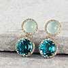 14k 金绿色玉髓与瑞士蓝托帕石带钻石光环吊式耳环(10毫米) 第一另类视图