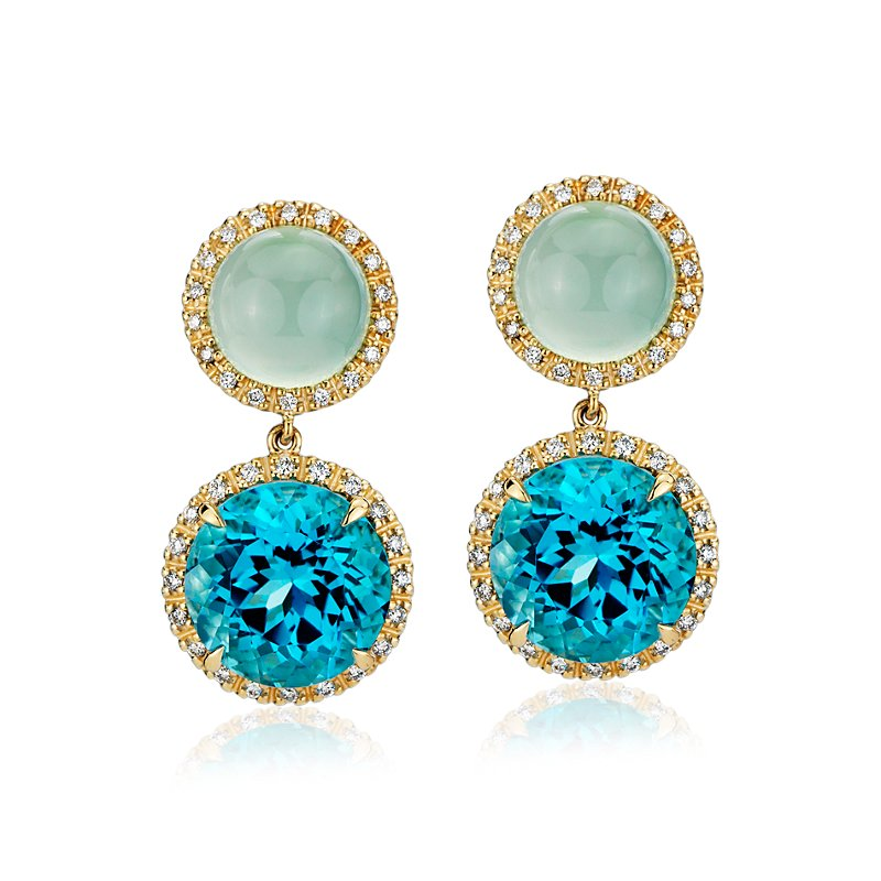 Green Chalcedony and Swiss Blue Topaz Drop Earrings with Diamond Halo in 14k Yellow Gold (10mm)