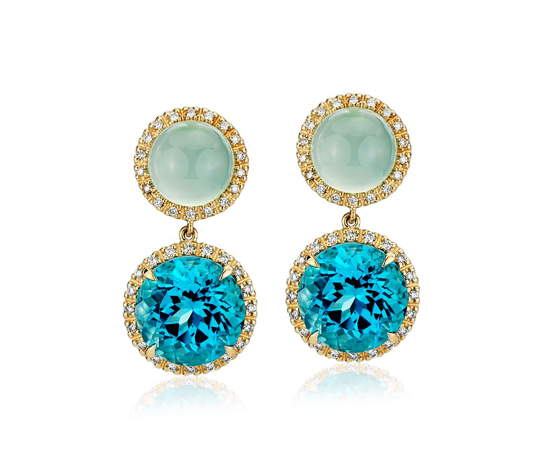 Green Chalcedony And Swiss Blue Topaz Drop Earrings With