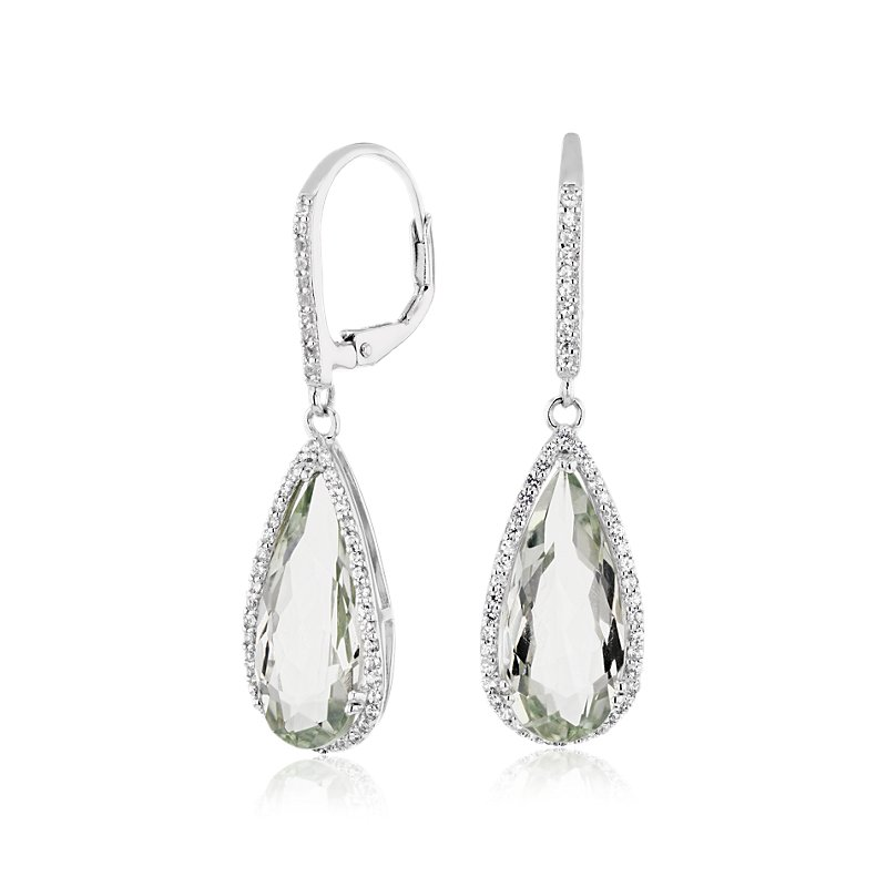Pear-Shaped Green Quartz Drop Earrings with White Topaz Halo in S