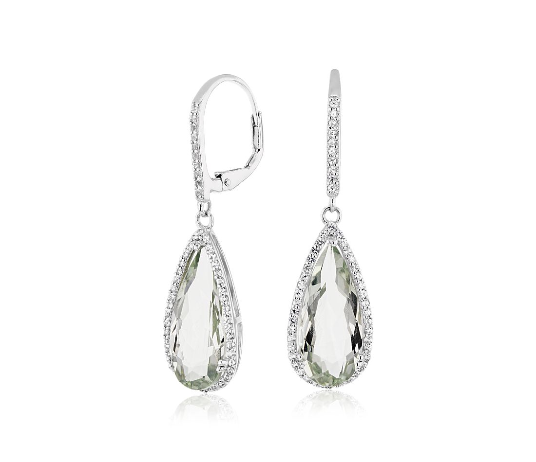 Pear Shaped Green Quartz Drop Earrings With White Topaz Halo In Sterling Silver 18x8mm