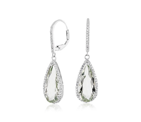 Pear-Shaped Green Quartz Drop Earrings with White Topaz Halo in Sterling Silver (18x8mm)