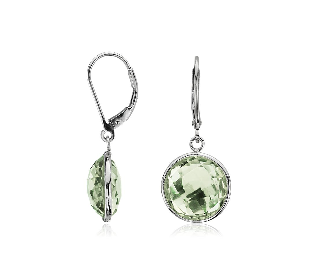Faceted Green Quartz Earrings in Sterling Silver
