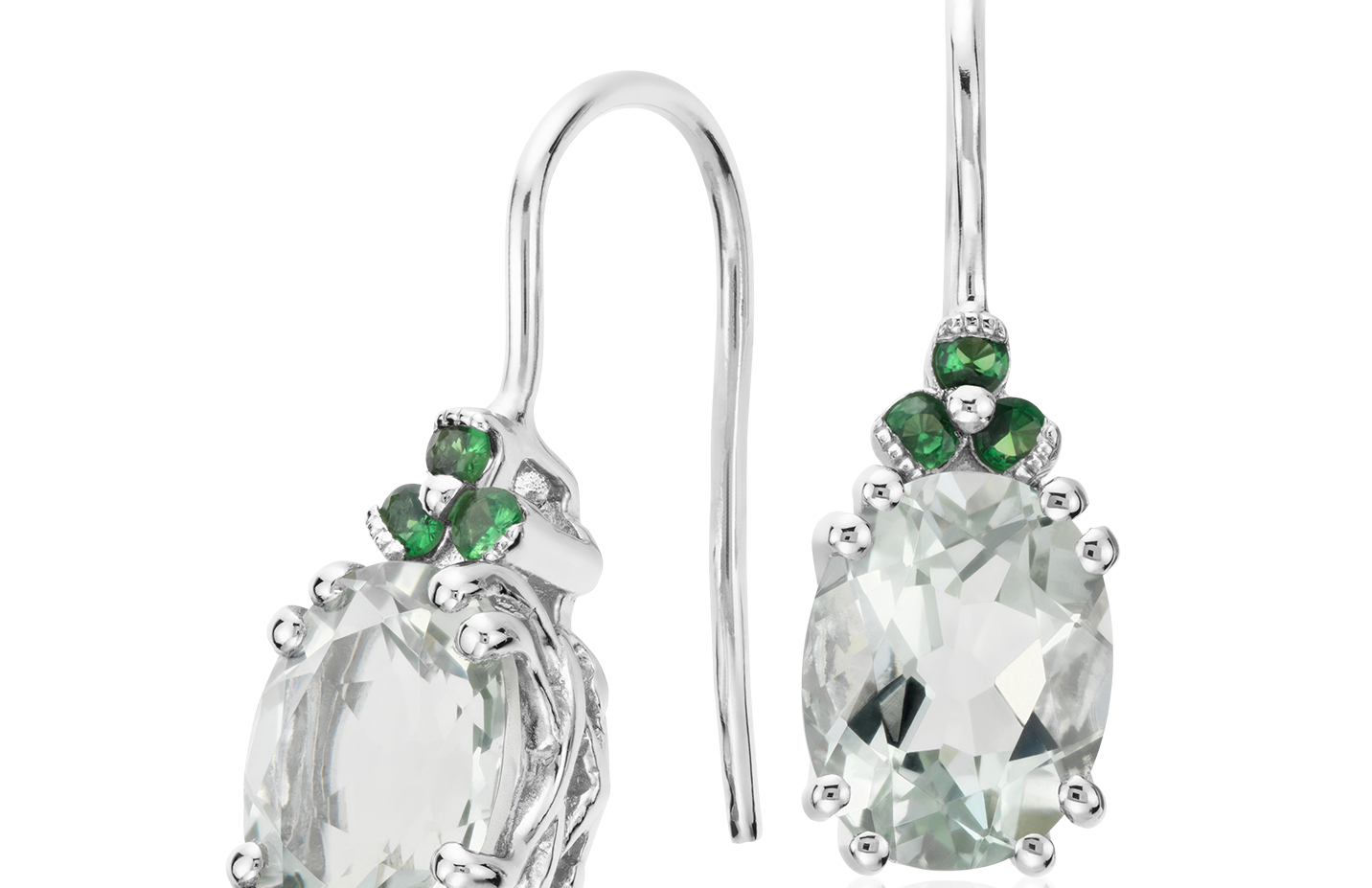 Green Quartz and Tsavorite Drop Earrings in Sterling Silver
