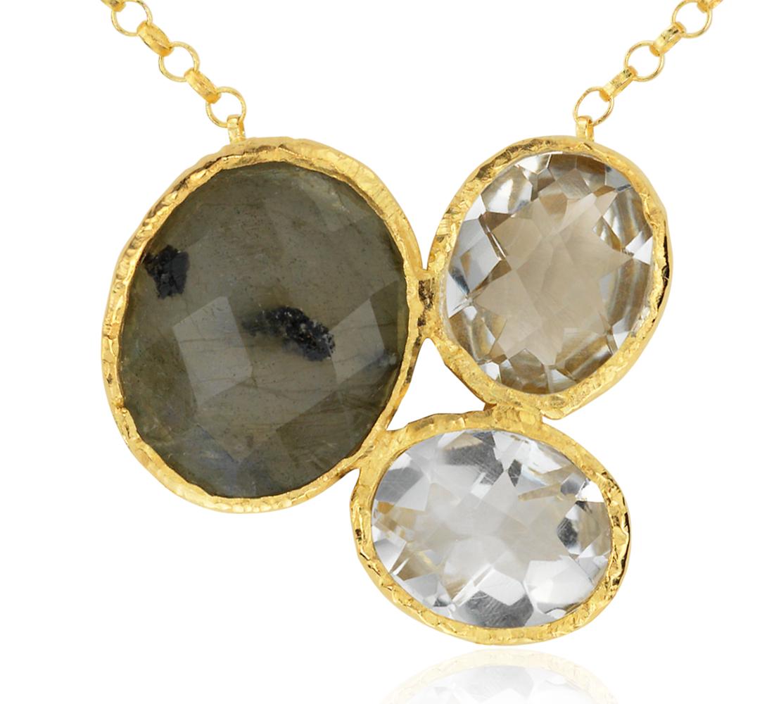Collier en labradorite, quartz vert et quartz blanc en or vermeil