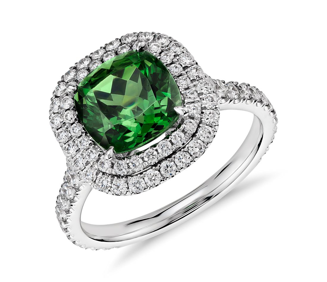 Green Tourmaline and Micropavé Diamond Double Halo Ring in 18k White Gold (3.77 cts center)
