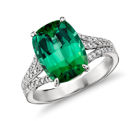 Green Tourmaline and Micropavé Diamond Ring in 18k White ...