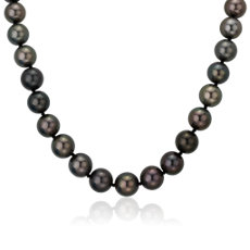 NEW 10.5-11mm Grey and Black Ombré Tahitian Strand Necklace with Diamond Clasp