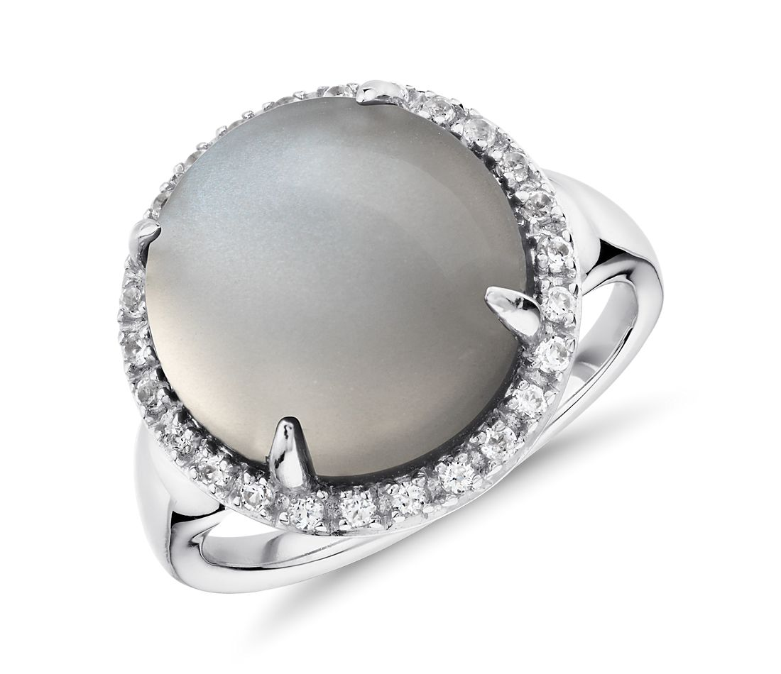 Gray Moonstone and White Topaz Round Halo Ring in Sterling Silver (13mm)