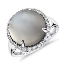 Grey Moonstone and White Topaz Round Ring in Sterling Silver (13mm)