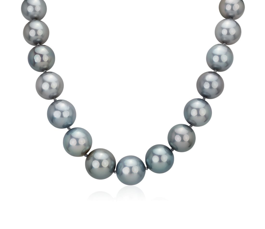 15-17mm Grey Tahitian Strand Necklace with Diamond Clasp