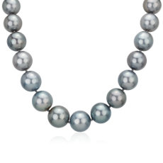 NEW 15-17mm Grey Tahitian Strand Necklace with Diamond Clasp