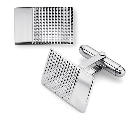 Grid Cuff Links in Sterling Silver