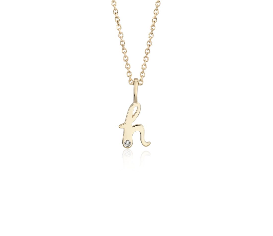 """H"" Mini Initial Pendant with Diamond Detail in 14k Yellow Gold"