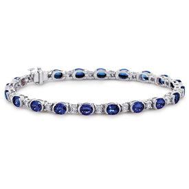18k 白金椭圆蓝宝石钻石半包边镶手链(5x4毫米)