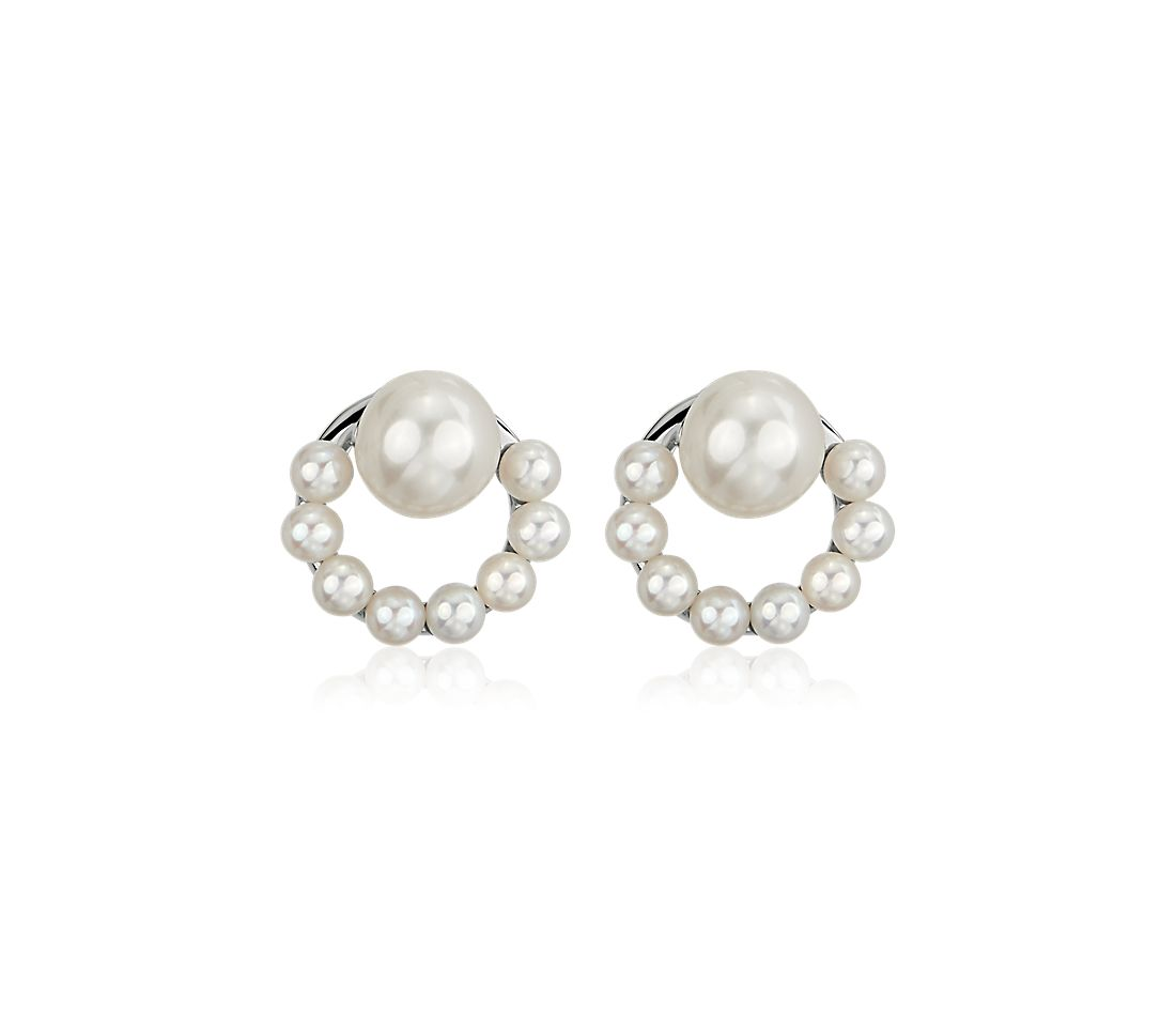Half Circle Freshwater Cultured Pearl Stud Earrings in Sterling Silver (6-7mm)