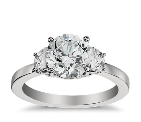 Half Moon Diamond Engagement Ring in Platinum (1/2 ct. tw.)