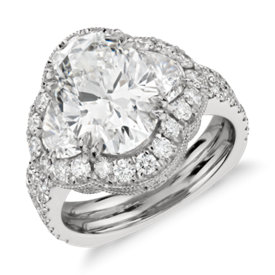 Bella Vaughan for Blue Nile Fortuna Half Moon Oval Diamond Engagement Ring in Platinum (4.87 ct. tw.)