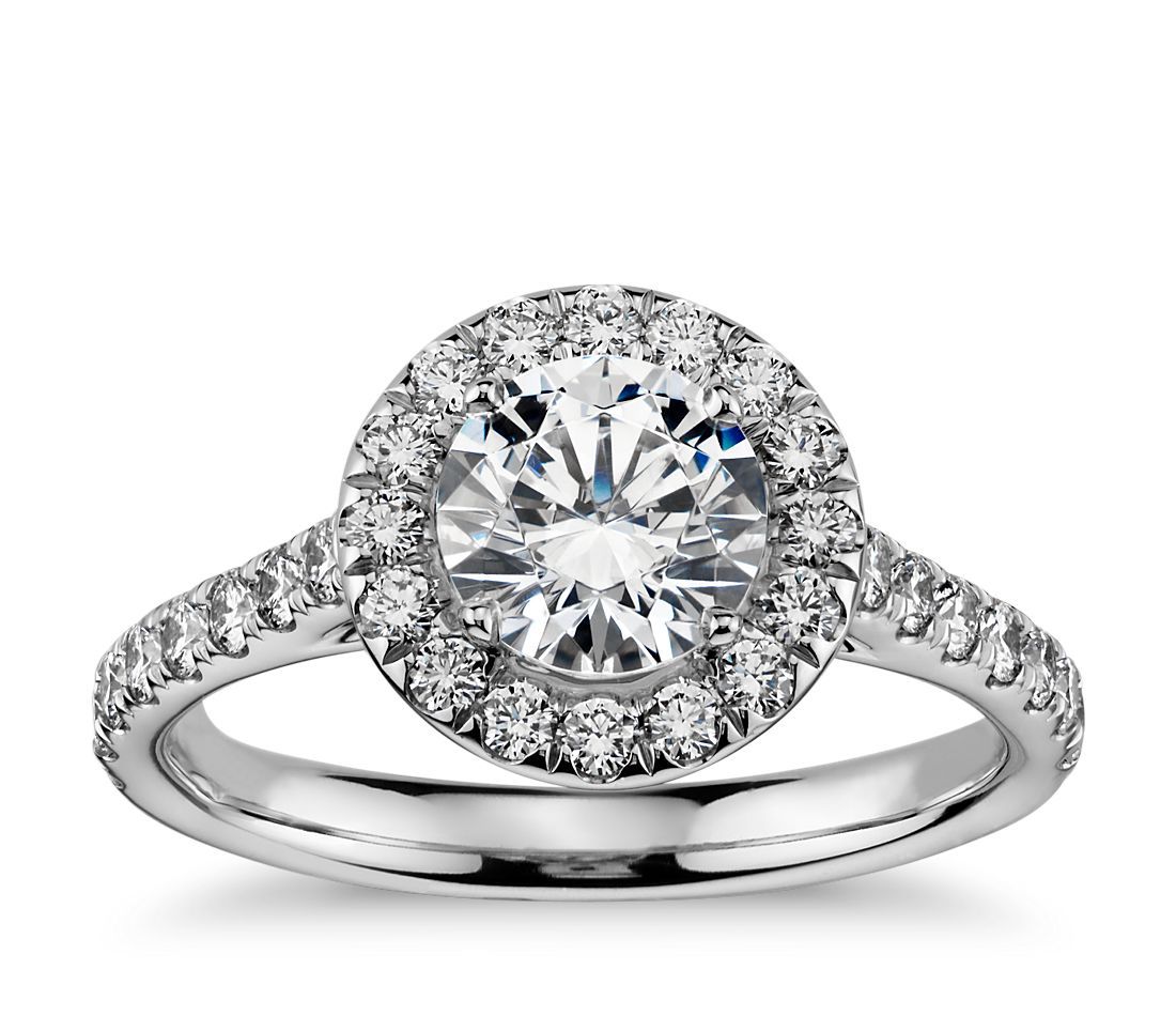 Round Halo Diamond Engagement Ring In 14k White Gold (1/2