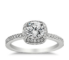 Halo Diamond Engagement Ring in 18K White Gold (0.39 ct. tw.)