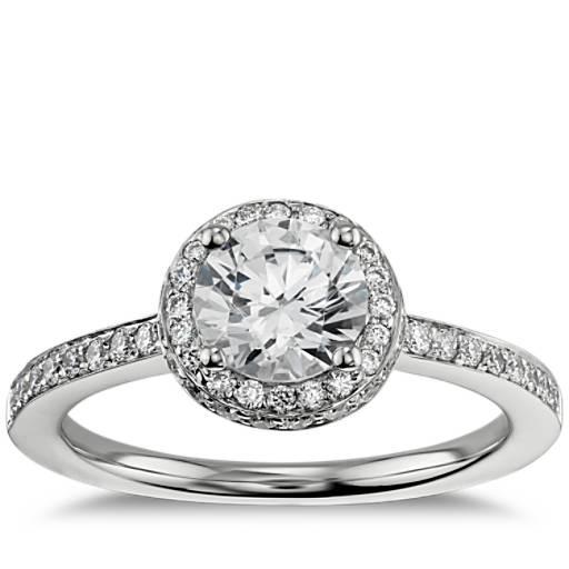 Round Blue Diamond Engagement Ring