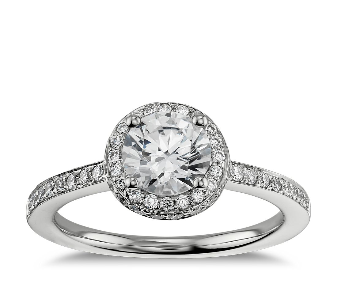 989922a75973 Halo Diamond Engagement Ring in 18K White Gold