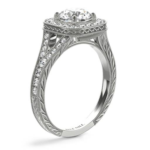 Hand-Engraved Milgrain Diamond Halo Engagement Ring