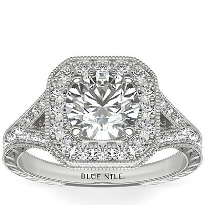 Hand-Engraved Milgrain Diamond Halo Engagement Ring in 14k White Gold (3/8 ct. tw.)