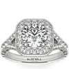 Hand-Engraved Milgrain Diamond Halo Engagement Ring in 14k White Gold (3/8 ct. tw.)