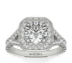 14k 白金手工雕刻锯状滚边钻石光圈订婚戒指(3/8 克拉总重量)