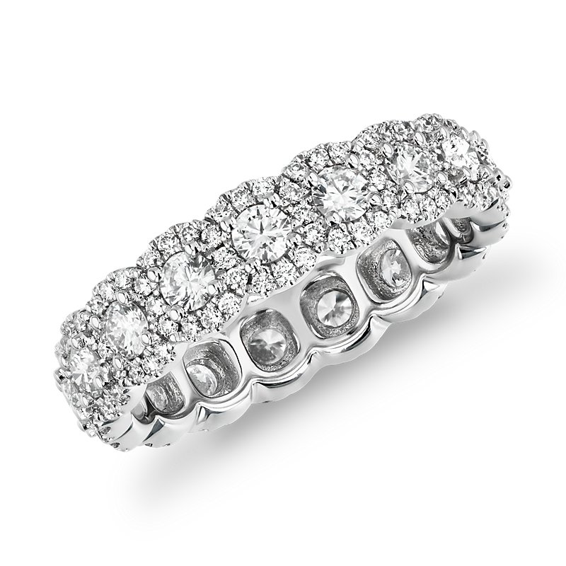 Halo Diamond Eternity Ring 18k White Gold (2 ct. tw.)