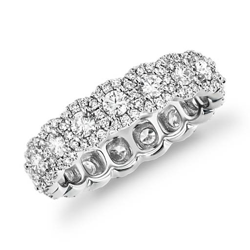 halo diamond eternity ring 18k white gold 2 ct tw